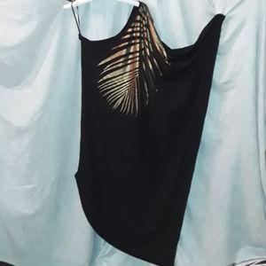 City chic plus size black Shimmer palm maxi dress